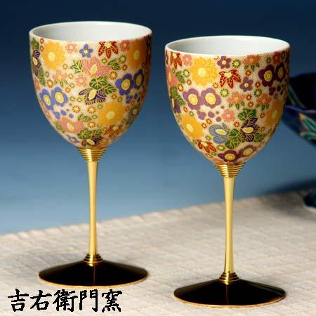 ペアワインカップ 極上花詰ブルー・パープル 九谷焼 ワイングラス