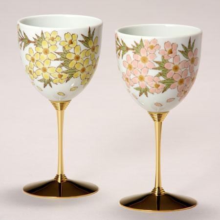 ペアワインカップ 色彩花 九谷焼 ワイングラス