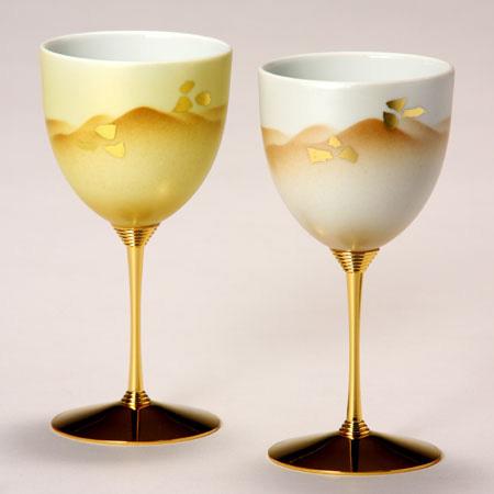 ペアワインカップ 金銀彩静山 九谷焼 ワイングラス