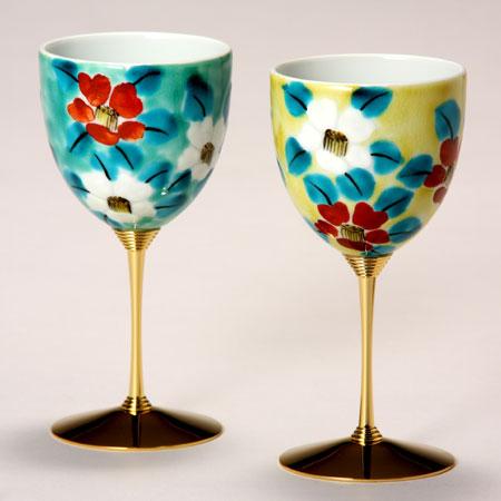 ペアワインカップ 釉彩小花 九谷焼 ワイングラス