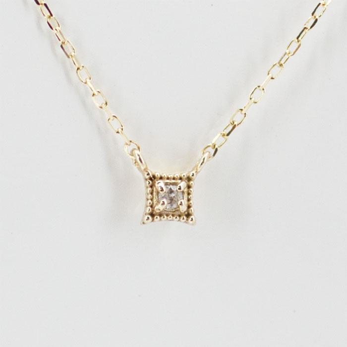 光を集めて輝きます ネックレス レディース 往復送料無料 ダイヤモンド 現品 10K 誕生石 K10 イエローゴールド 10金 4月