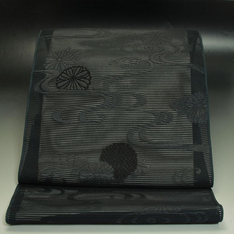 黒共名古屋帯 憲法染 夏用 菊に流水