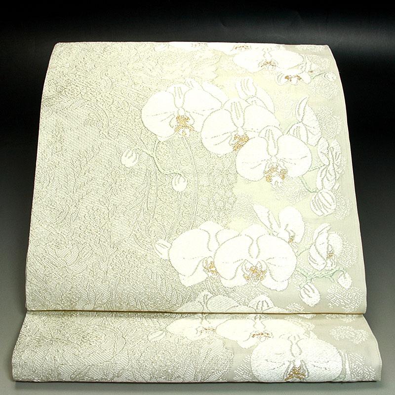 京都山口美術織物袋帯 レース地胡蝶蘭