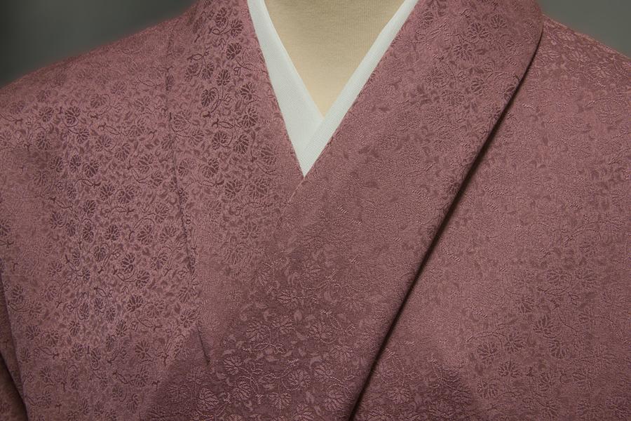 色無地 双葉葵文 小豆紫色