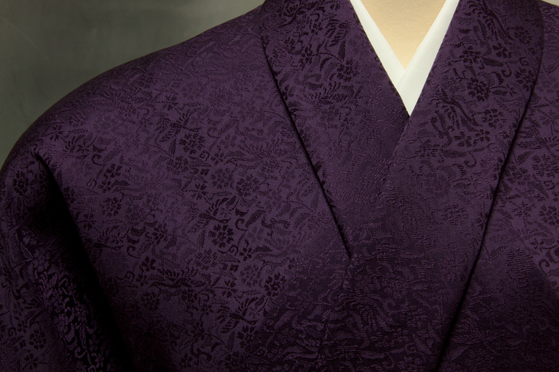 色無地 日本伝統御裂 唐花鳳凰文 葡萄色