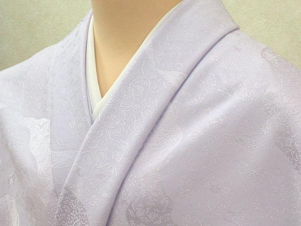 色無地 日本伝統御裂 道長取鳥獣草花文 藤色
