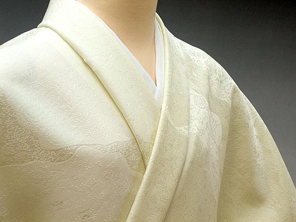 色無地 日本伝統御裂 道長取鳥獣草花文 鳥の子色