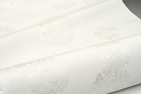 長襦袢 丹後産 正絹 白綸子 花の丸
