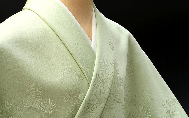 色無地 付け下げ柄 高野槙 オパールグリーン【反物1反・正絹胴裏1枚・正絹縫取共色八掛1枚のセット】