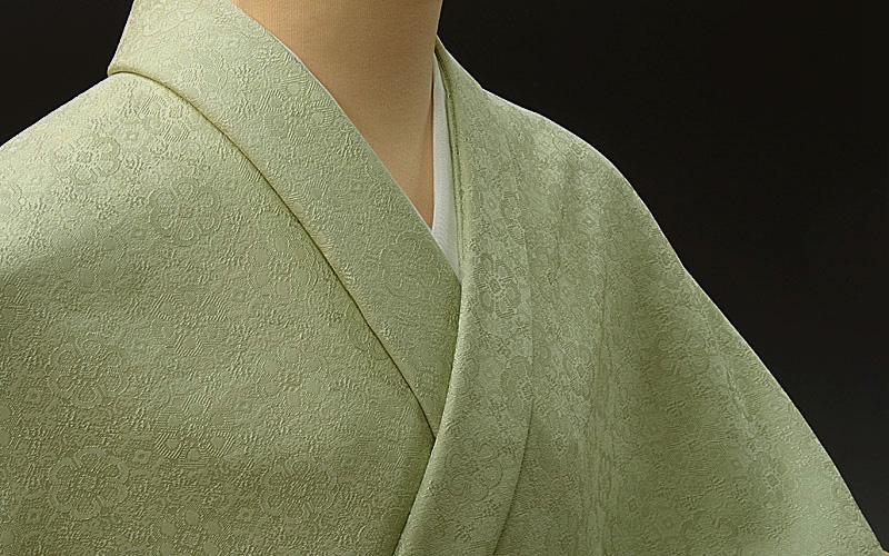 色無地 日本伝統御裂正倉院花鳥錦文 明るく落ち着いたグリーン