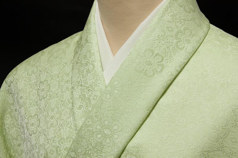 色無地 日本伝統御裂 正倉院花鳥錦文 オパールグリーン
