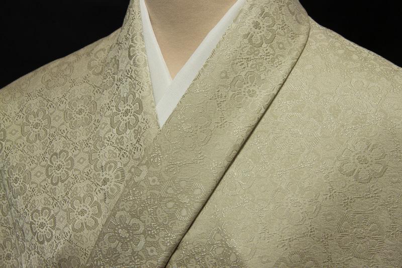 色無地 日本伝統御裂 正倉院花鳥錦文 利休茶