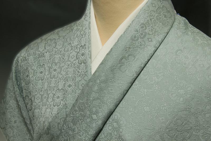 色無地 日本伝統御裂 正倉院花鳥錦文 薄藍