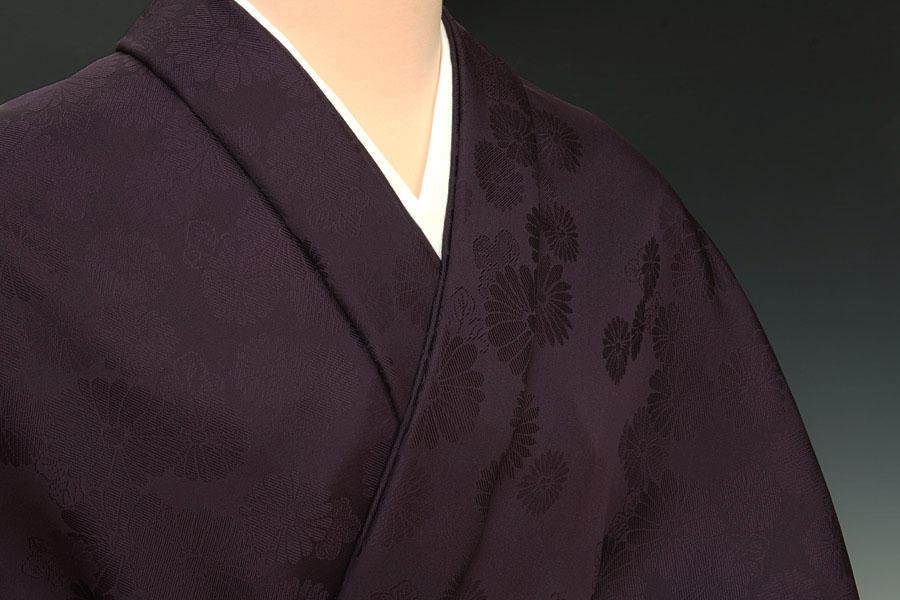 色無地 菊詰文 深紫