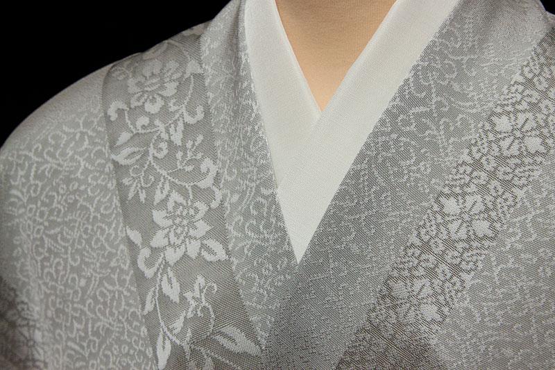 着尺 紋紗地 丹後産 更紗有職文 広巾 ライトグレー