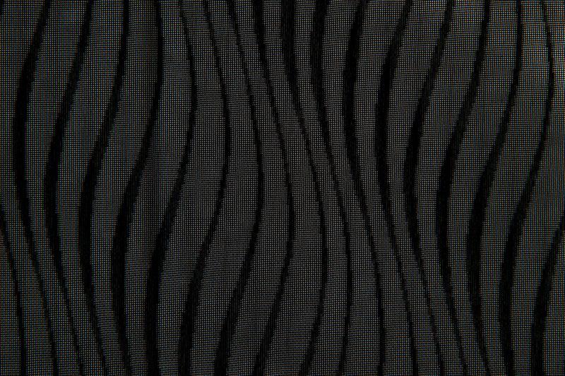 ちりよけコート地 桐生産 先染紋紗波縞文 黒