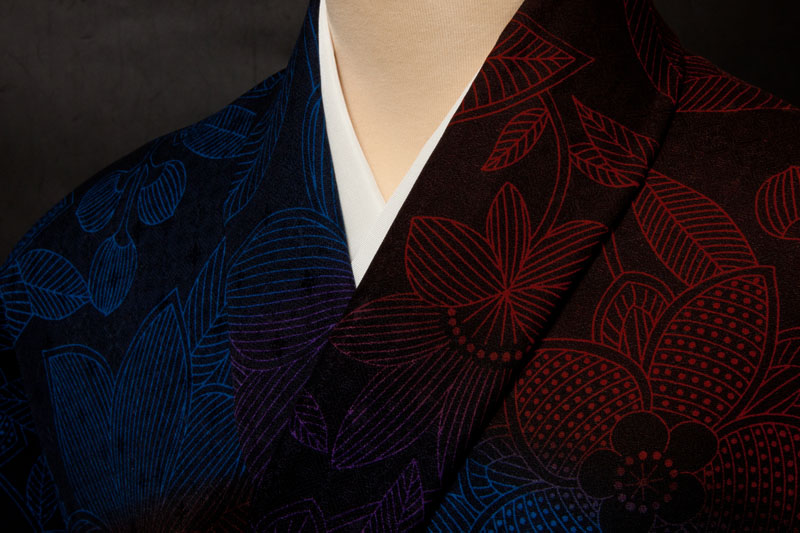 コート地 紋意匠 四季花文 横段ぼかし01