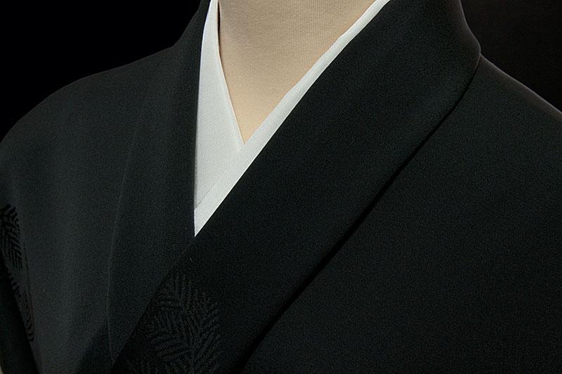 正絹反物 コート・羽織 紋意匠松の丸文 墨黒色