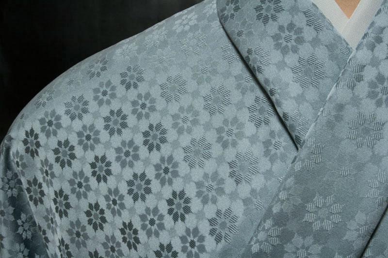 色無地 紋意匠 先練 モザイク文 灰青