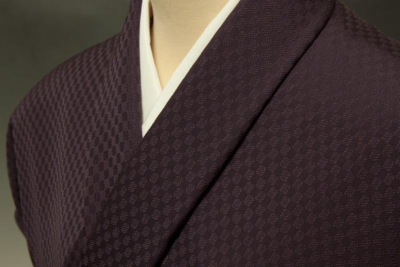 コート地 紋意匠 市松文 紫紺