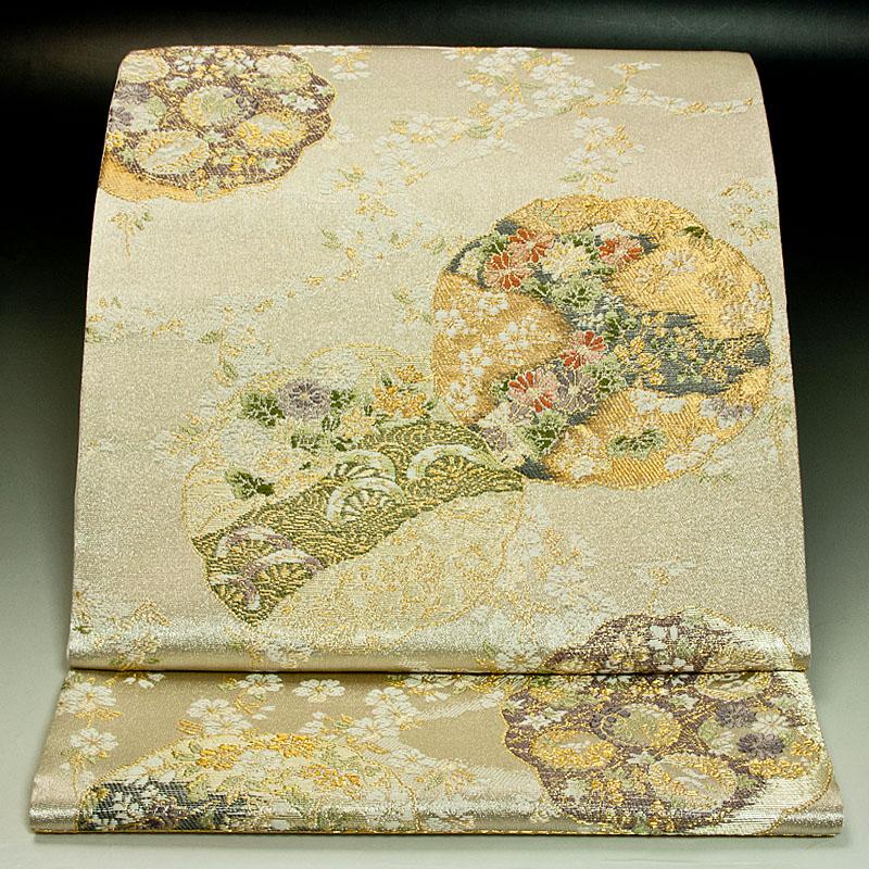 西陣橋本テル織物 袋帯 花の丸文