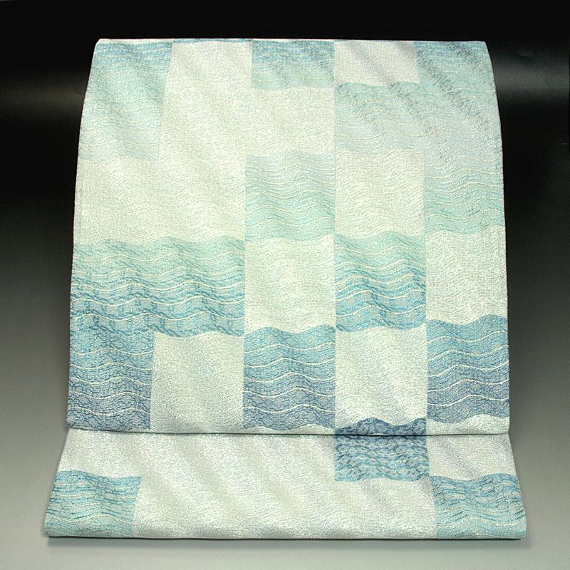 西陣じゅらく工芸織 袋帯 波格子文