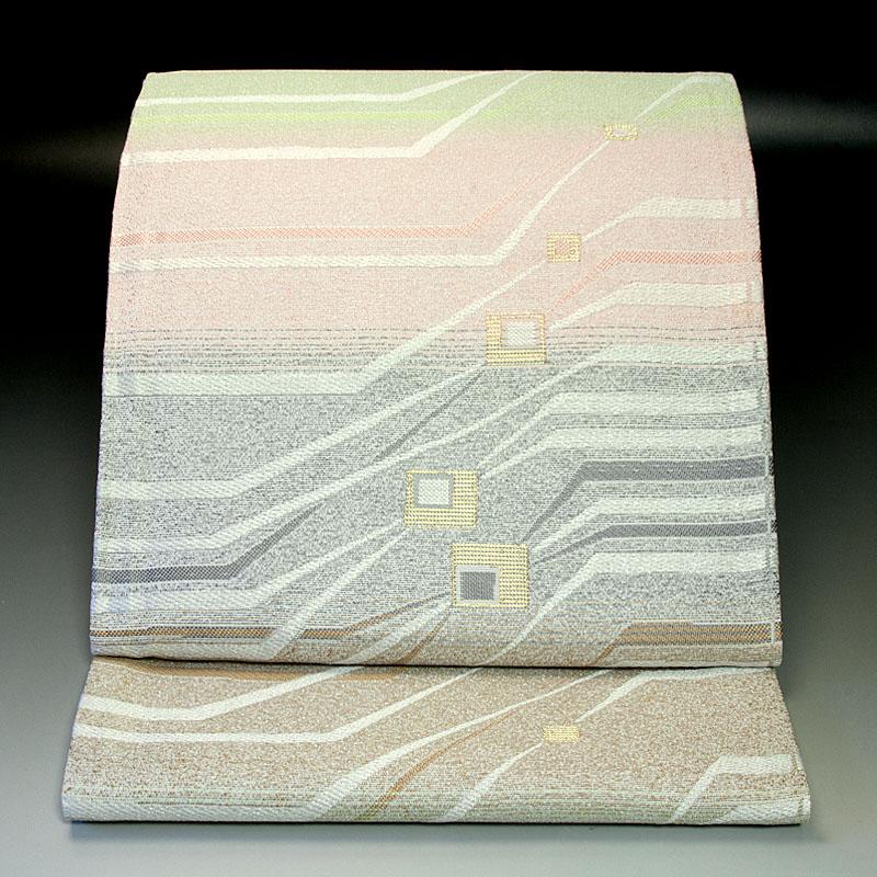西陣橋本テル織物 袋帯 横段幾何学文