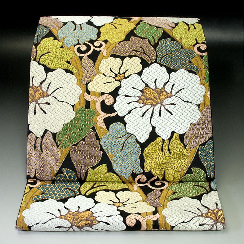 西陣河合美術織物 袋帯 牡丹立涌文