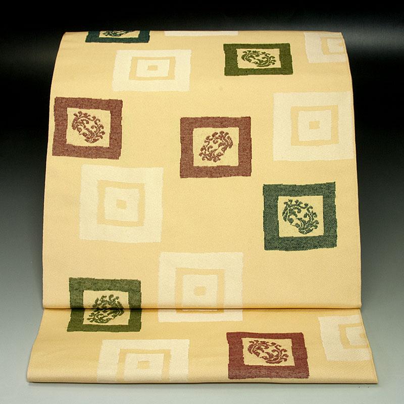 京都岩井織物 袋帯 双鳥幾何学文