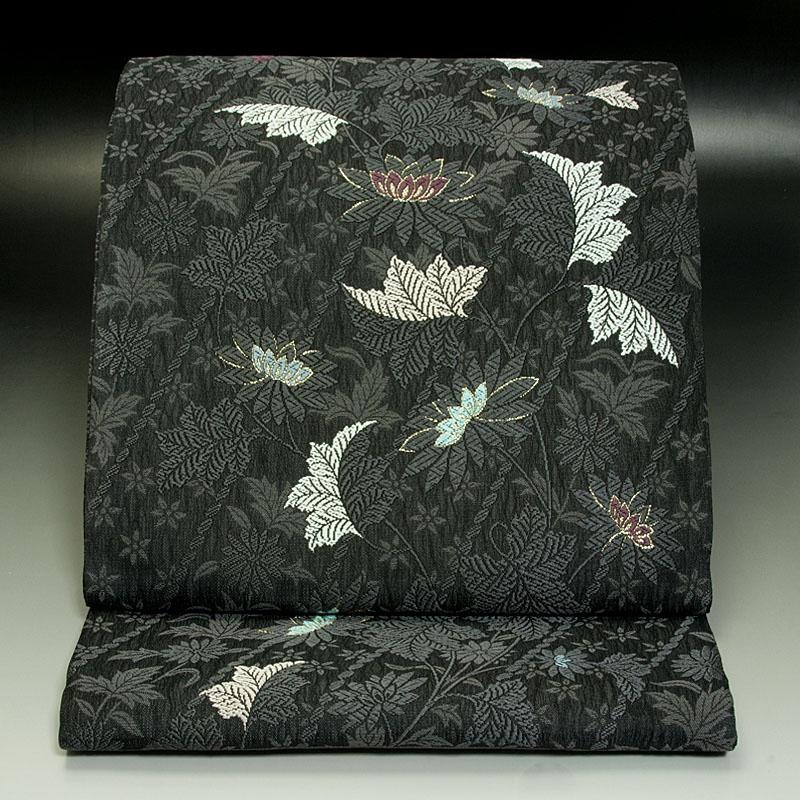 西陣弥栄織物 袋帯 斜め牡丹文