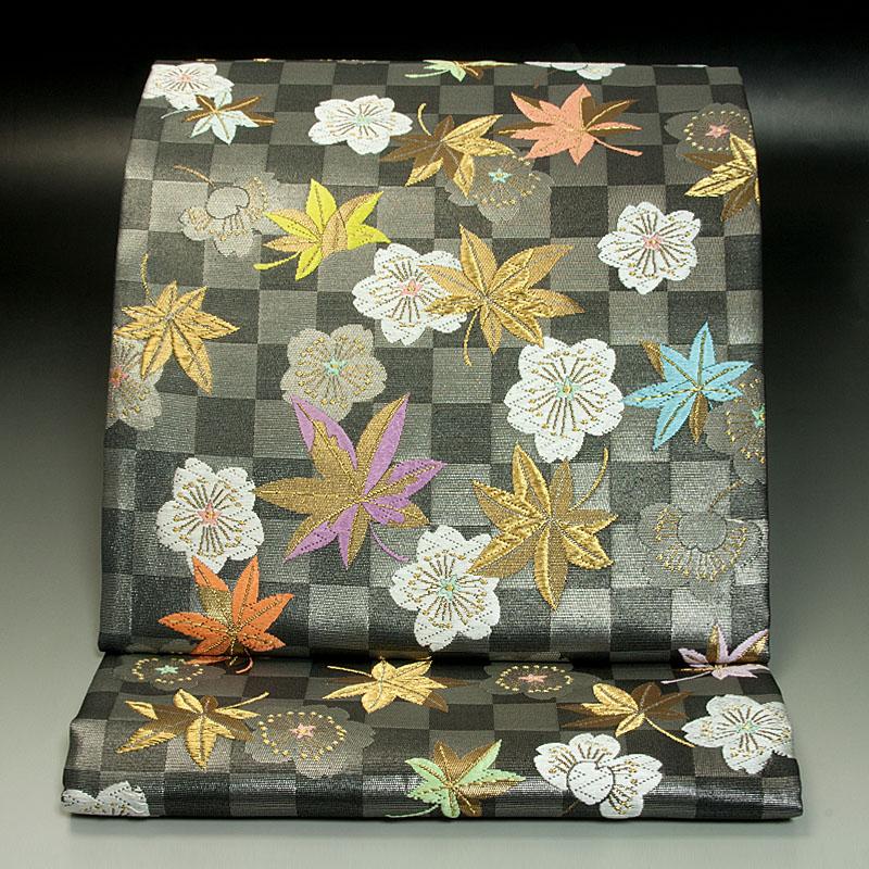 京都山口美術織物 袋帯 市松桜楓文