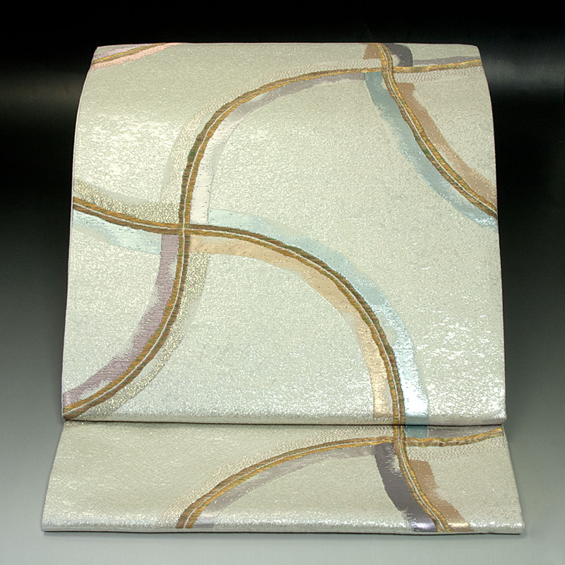 西陣岡文織物 袋帯 分銅繋ぎ文