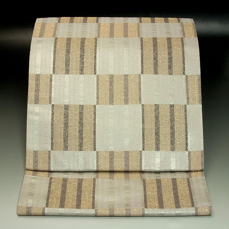 西陣小森織物 袋帯 市松縦縞文