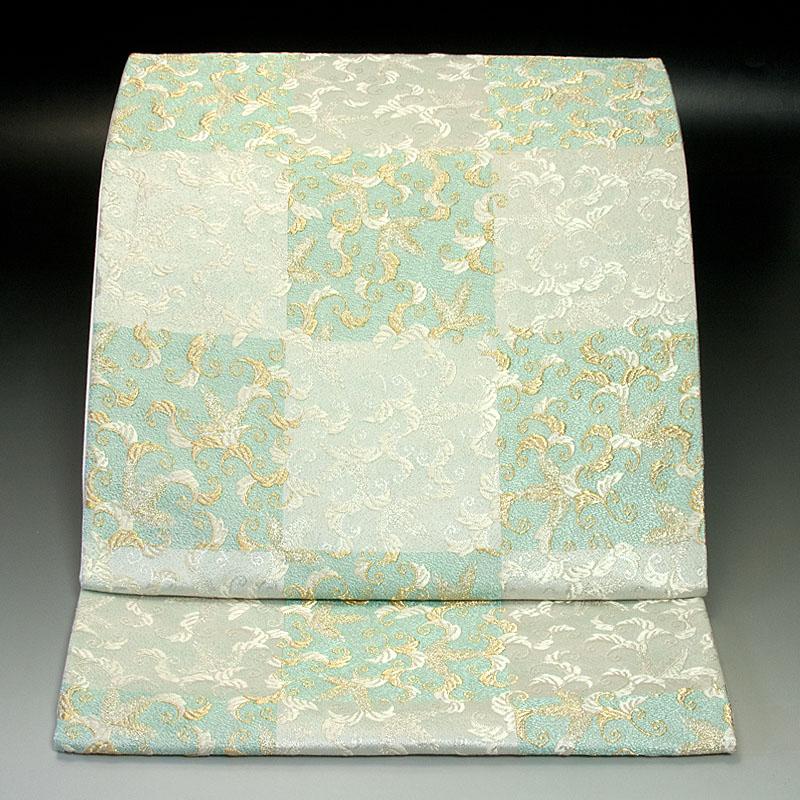 西陣河合美術織物 袋帯 市松唐草文