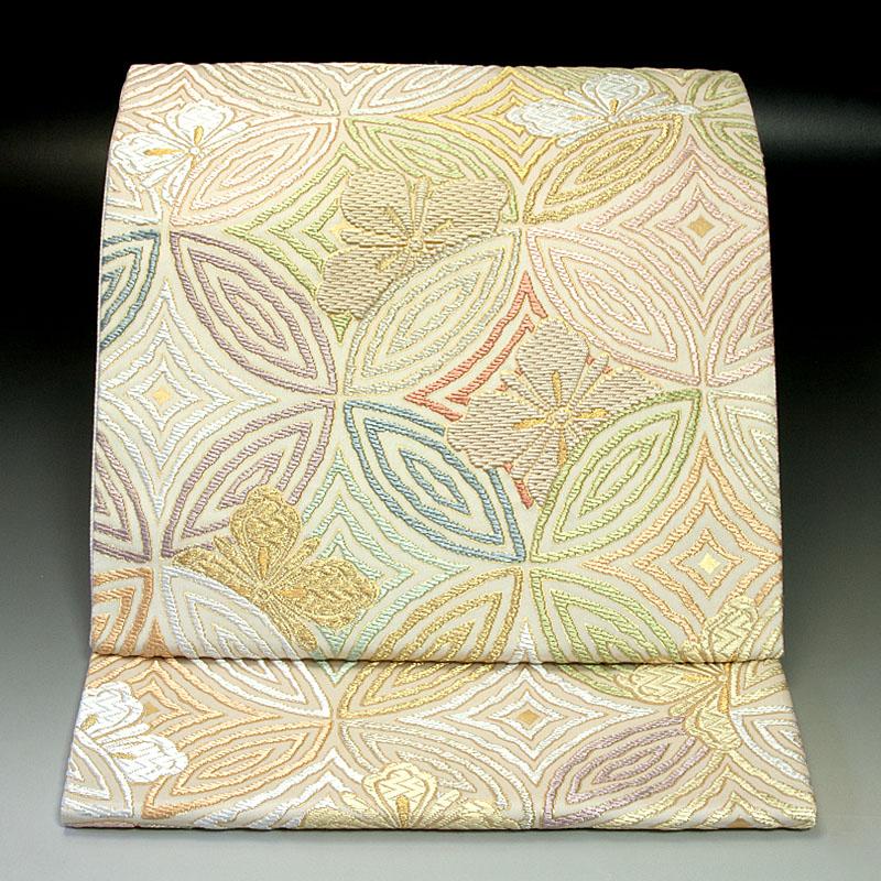 西陣まいづる 袋帯 琴糸織 花菱七宝華文