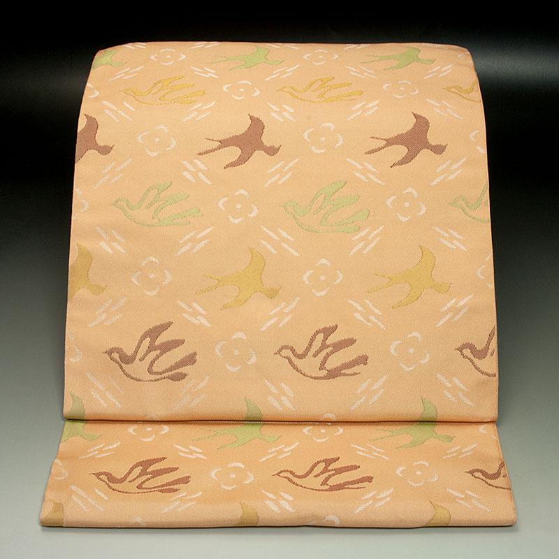 西陣岩井織物 袋帯 霞襷花鳥文