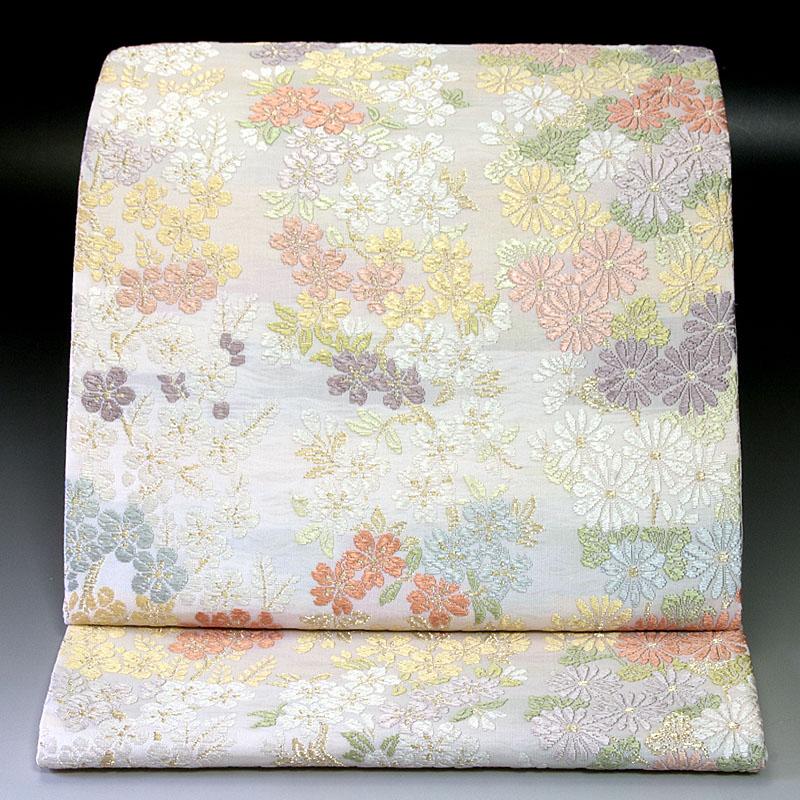 西陣橋本テル織物 袋帯 桜菊梅文