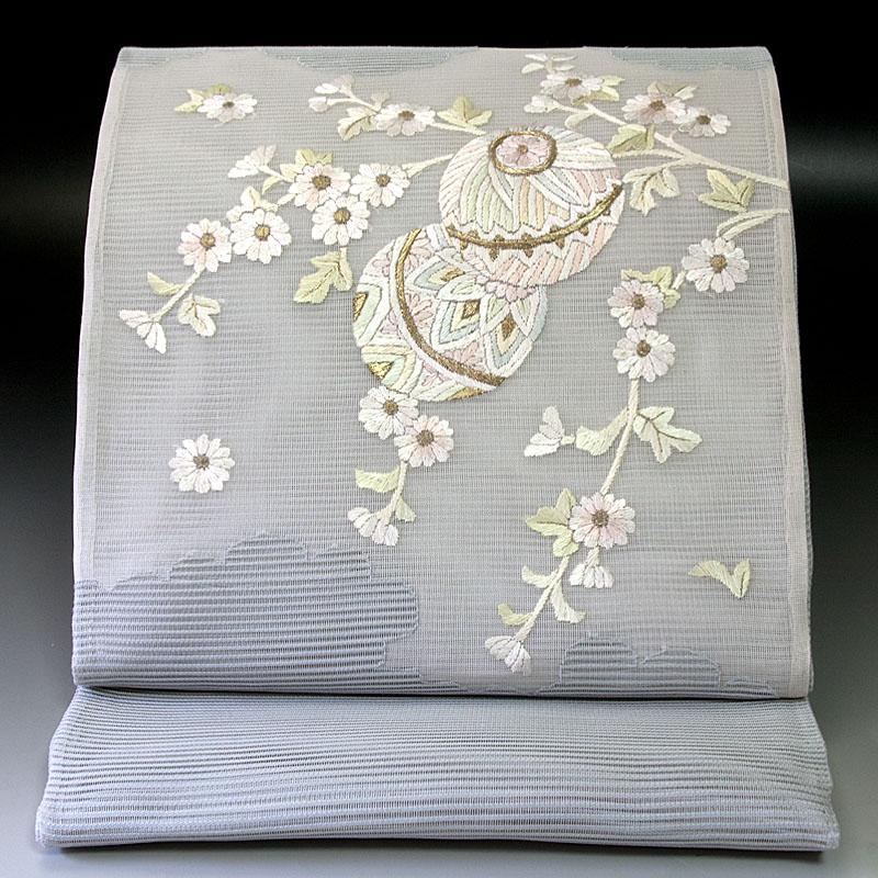夏袋帯 絽 手鞠菊文