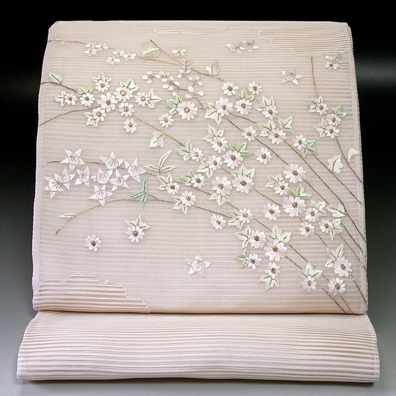 夏袋帯 絽 秋草文2