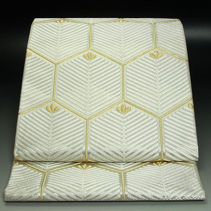 西陣河合美術織物 袋帯 能宝亀甲白松文