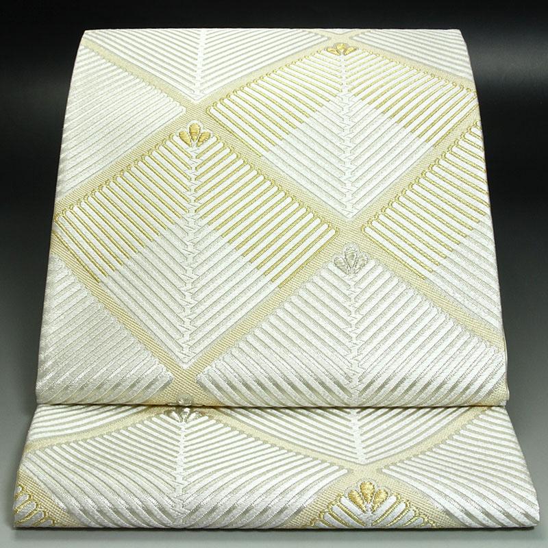 西陣河合美術織物袋帯 能宝松菱文