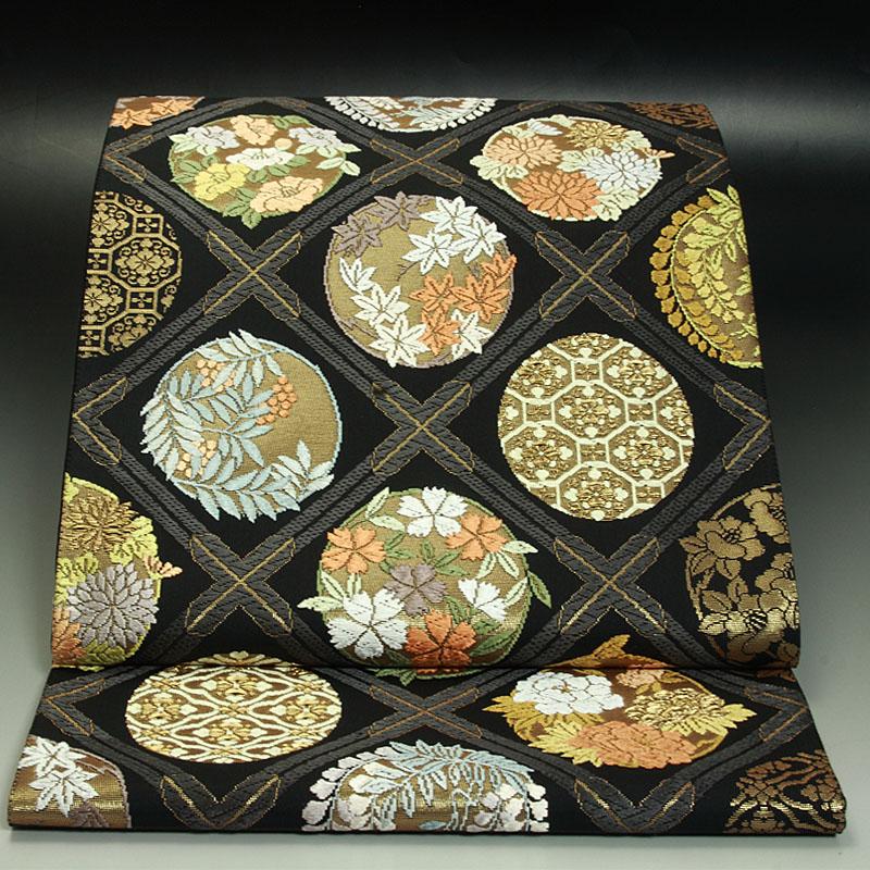 西陣翠洸織 袋帯 四季花の丸文