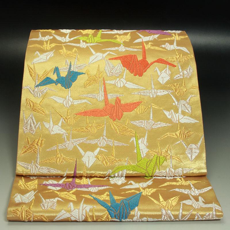 山口美術織物袋帯 吉祥折鶴文
