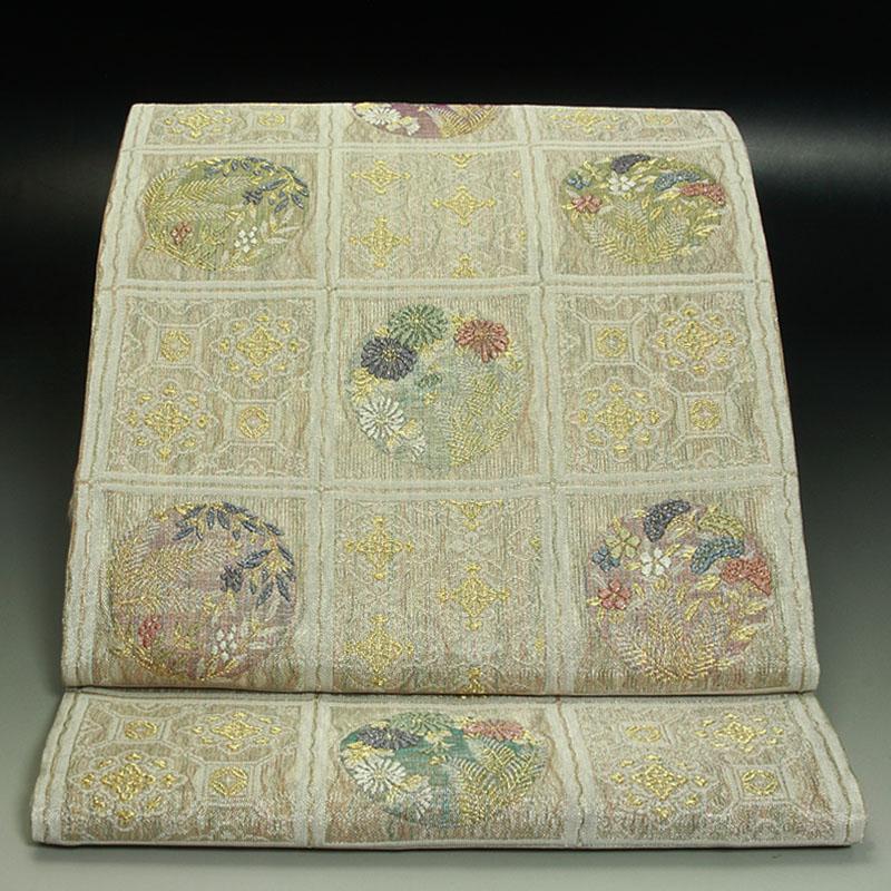 西陣神戸織物袋帯  正倉院名物裂 天井格子 花の丸と蜀江文
