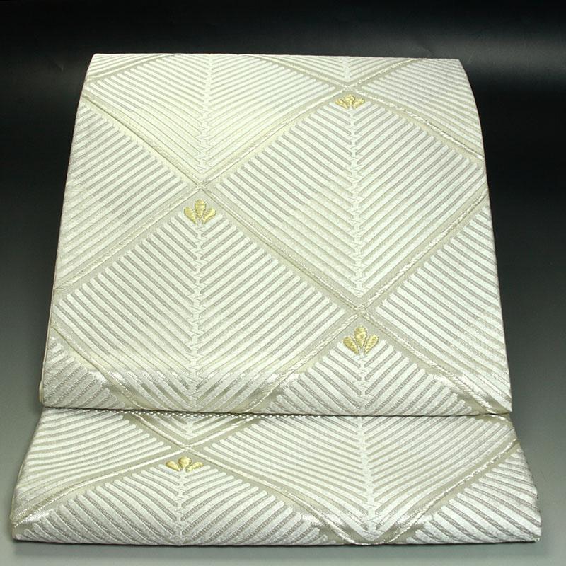 西陣河合美術織物袋帯  能宝菱格子松文