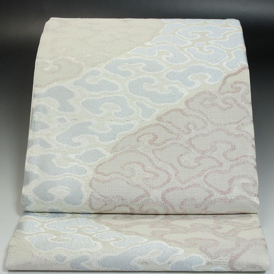 西陣岡文織物袋帯 群雲流水文