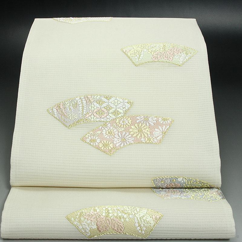 西陣橋本テル織物 夏袋帯 絽地紙文