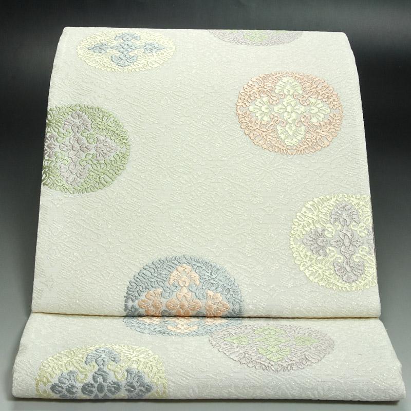 西陣橋本テル夏袋帯 絽八つ藤の丸文
