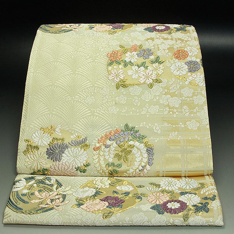 西陣吉啓織物袋帯 四季花の丸