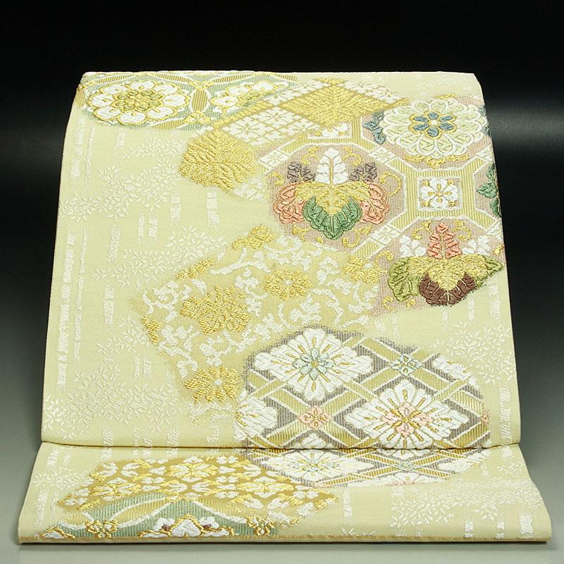 西陣吉啓織物袋帯 白樺に桐菊文(生成り色)